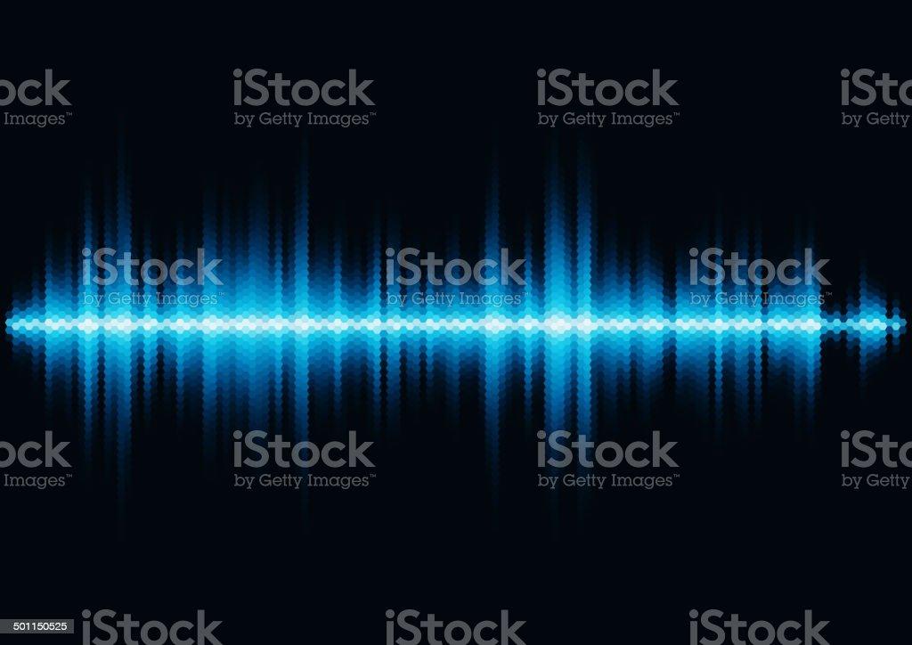Blue sound waveform with hex grid light filter vector art illustration