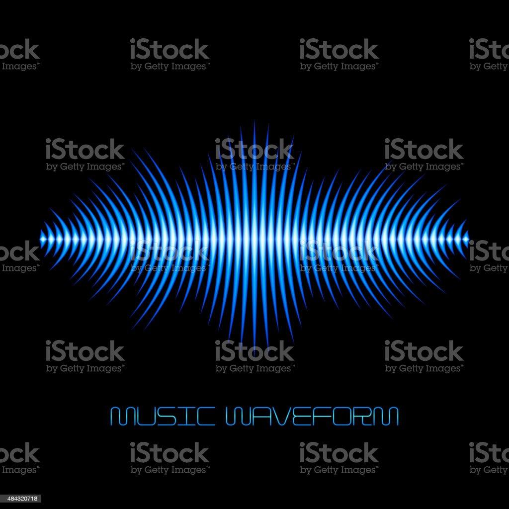 Blue sound waveform with sharp edges vector art illustration