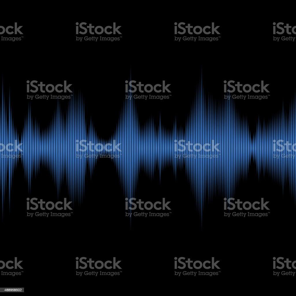 Blue Sound Waves Oscillating Equalizer on Black Background. Vector vector art illustration
