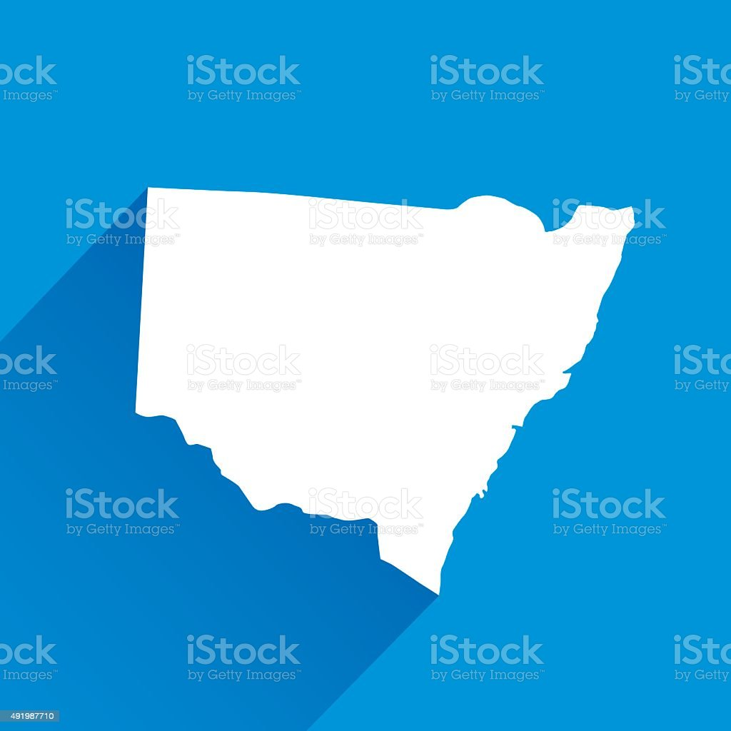 Blue South Wales Map Icon vector art illustration