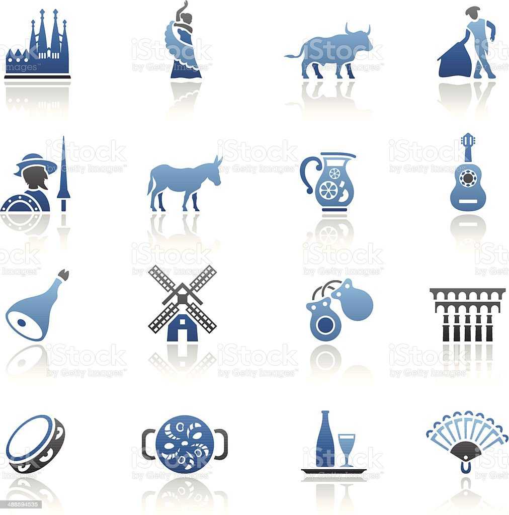 Blue Spanish Icon Set vector art illustration