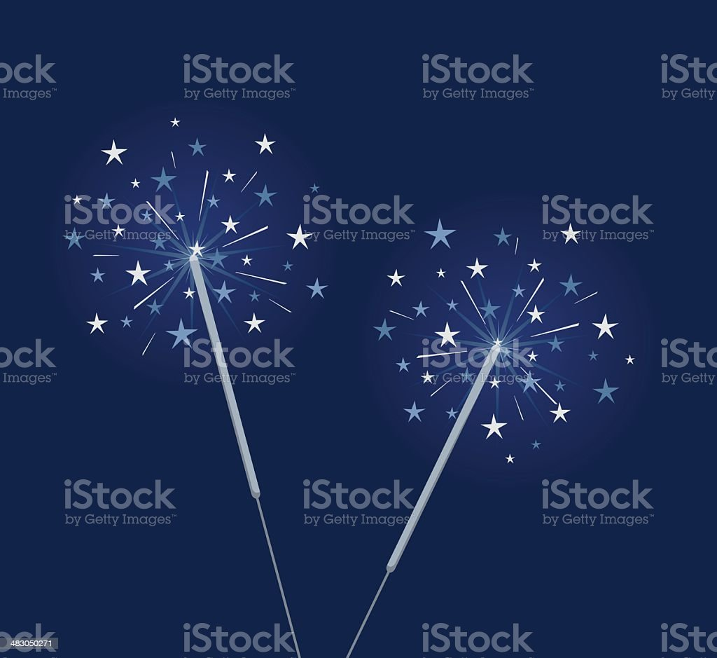 Blue sparklers vector art illustration