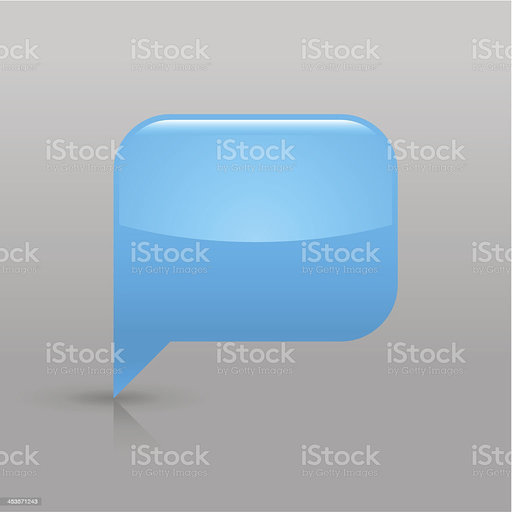 Blue speech bubble sign glossy icon empty rectangle pictogram royalty-free stock vector art