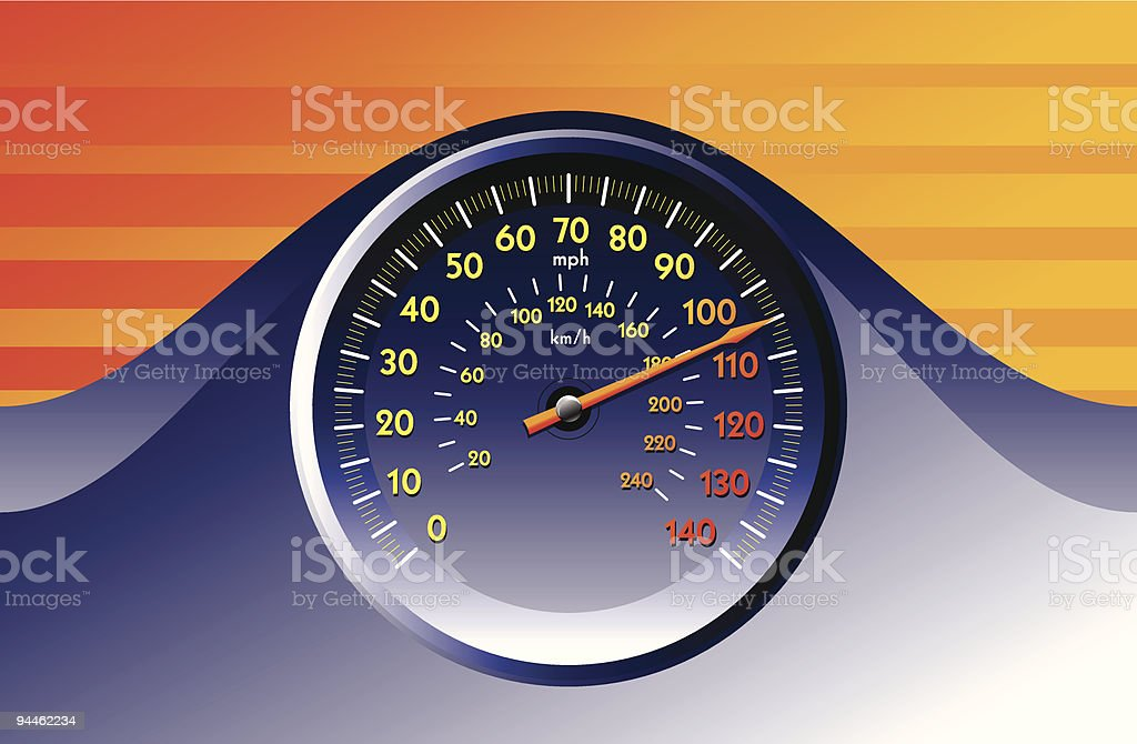 Blue speedometer royalty-free stock vector art