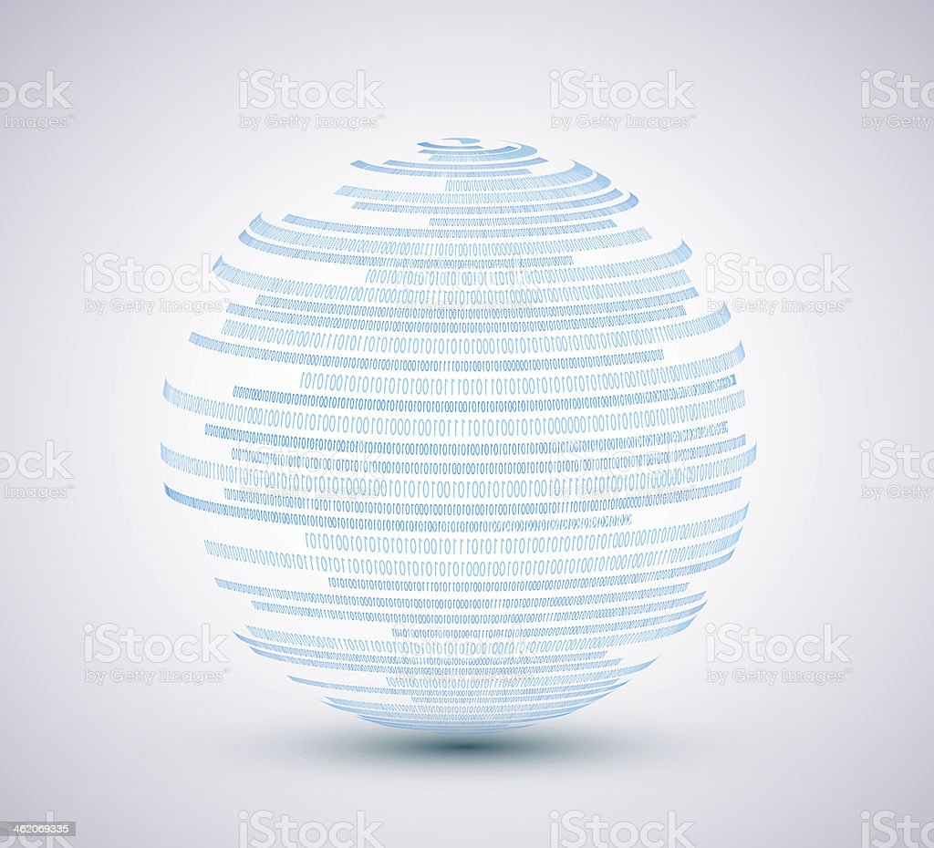 A blue, spherical vector binary with a gray background vector art illustration