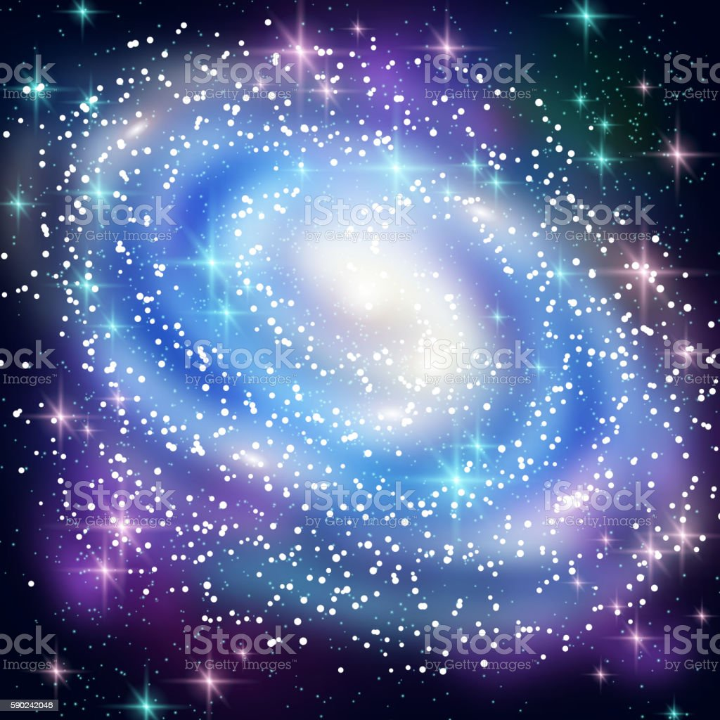 Blue Spiral Galaxy with Shining Stars. vector art illustration