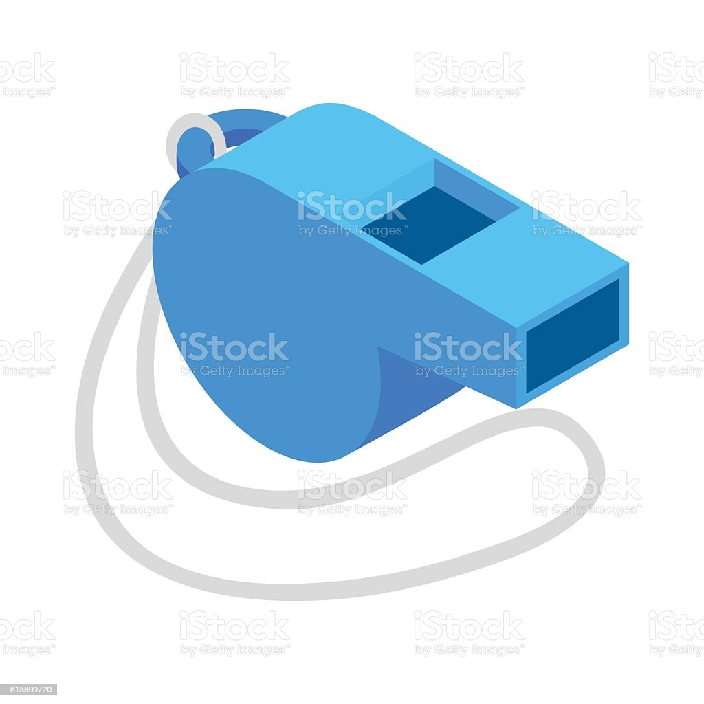 Blue sport whistle on a white cord isometric icon vector art illustration