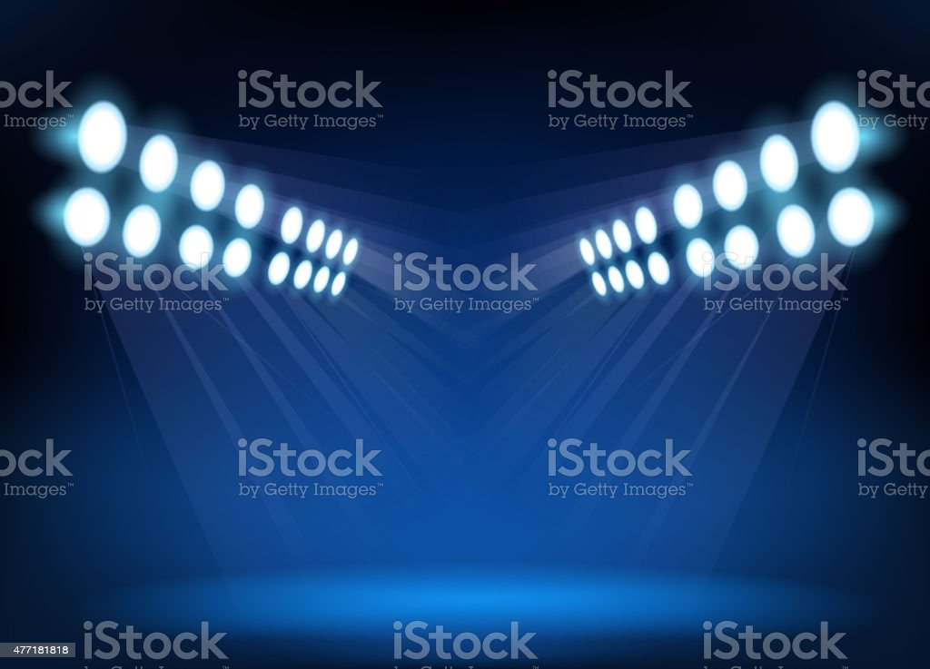 Blue spotlights vector art illustration