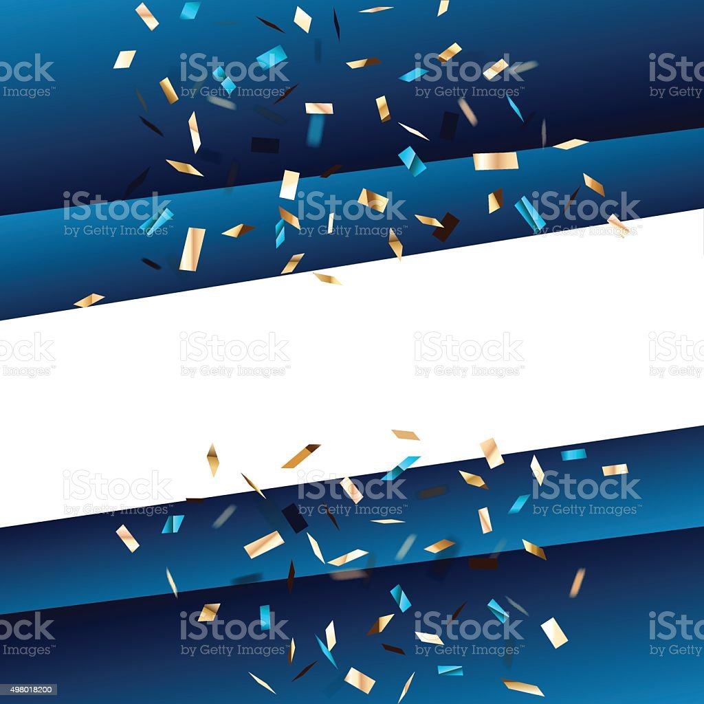 Blue square background with flying graphic elements. vector art illustration