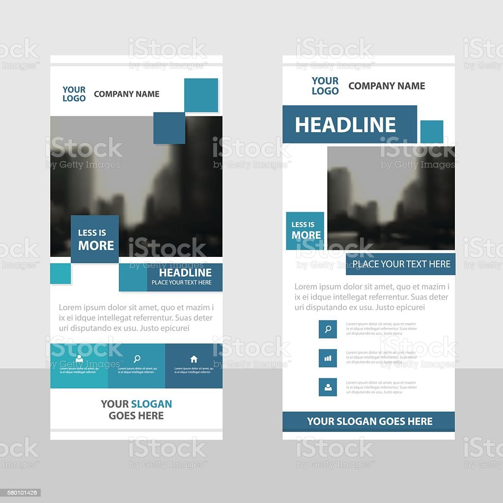 blue square business roll up banner flat design template abstract 1 credit