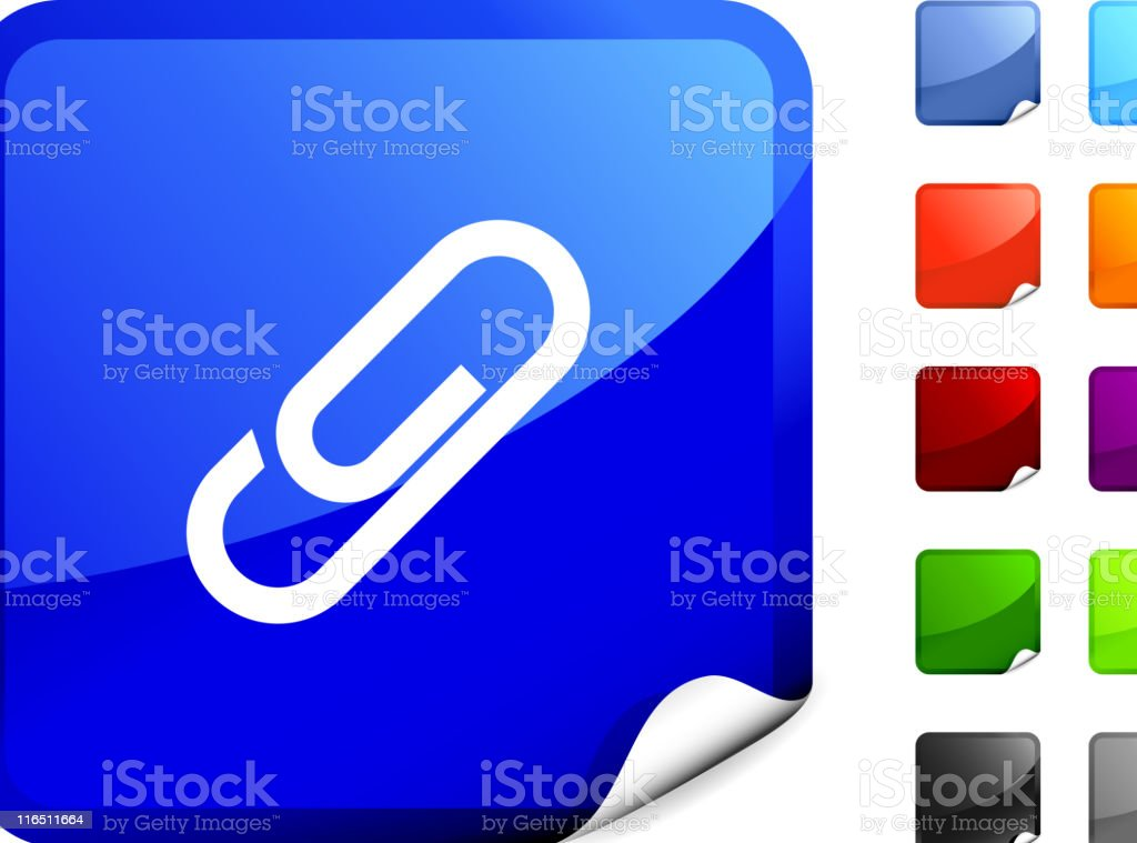 A blue, square sticker with a paper clip in white on it.  royalty-free stock vector art