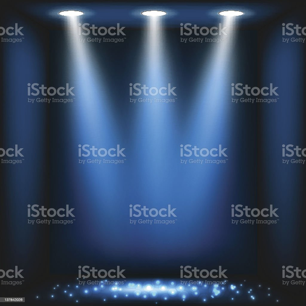 Blue stage lights abstract background vector art illustration