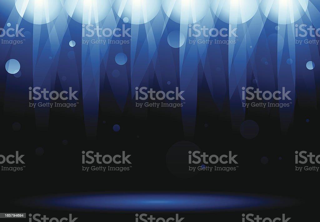 Blue Stage Lights vector art illustration