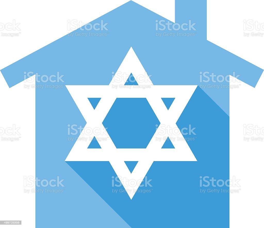 Blue Star Of David House vector art illustration