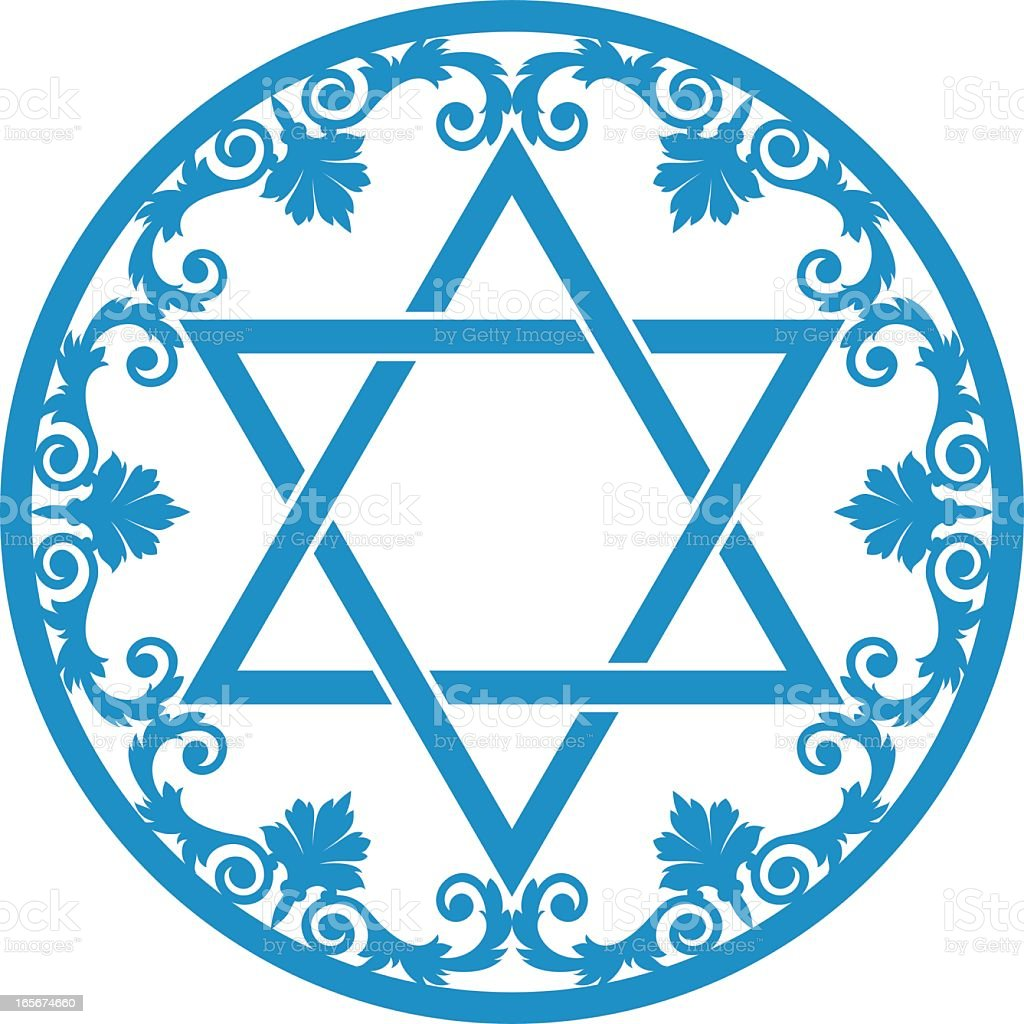 Blue Star of David in a detailed circle vector art illustration