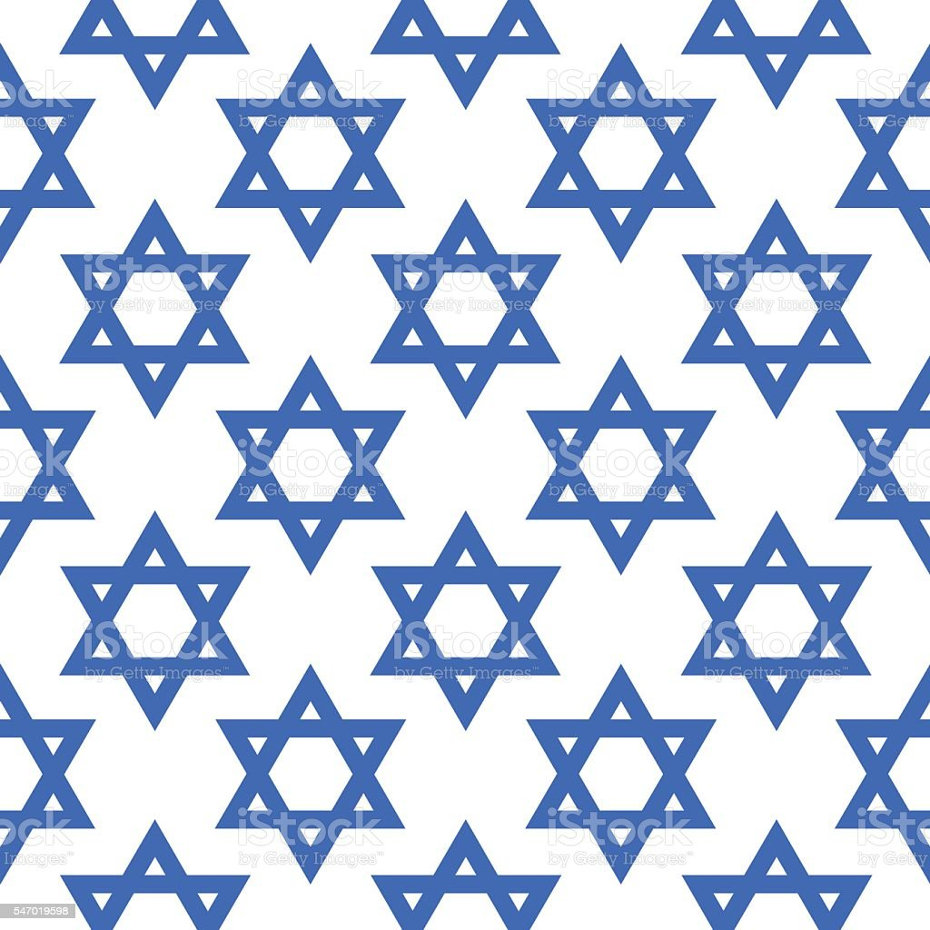 Blue Star Of David Pattern vector art illustration