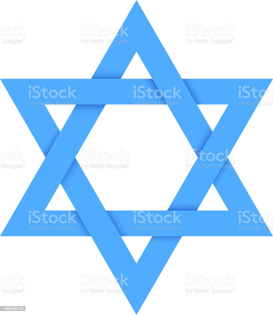 Blue star of David with shadow isolated on white vector art illustration