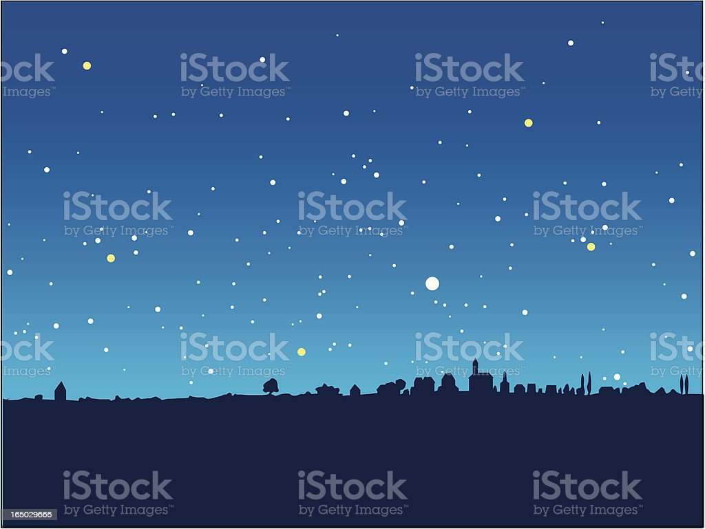 blue starry night royalty-free stock vector art