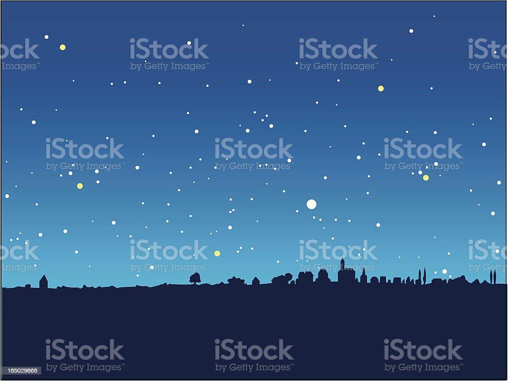 blue starry night vector art illustration