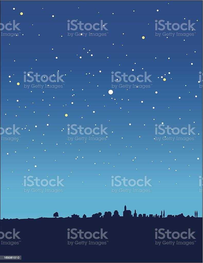 blue starry night vertical vector art illustration