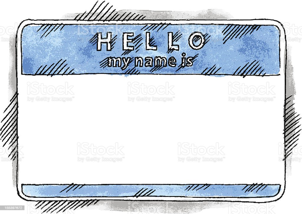 Blue sticker tag hello my name is watercolor drawing sketch stock photo