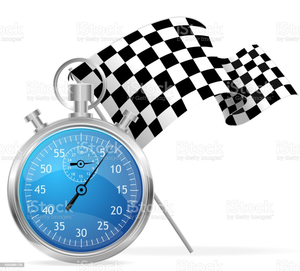 Blue stopwatch and flag royalty-free stock vector art