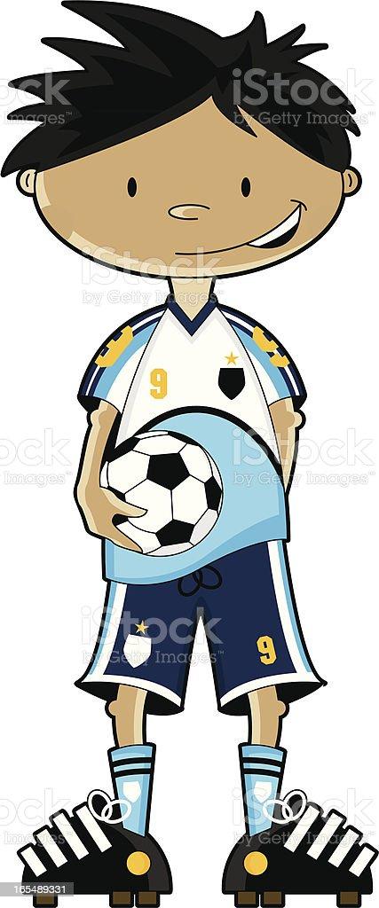 Blue Strip Soccer Boy Character vector art illustration