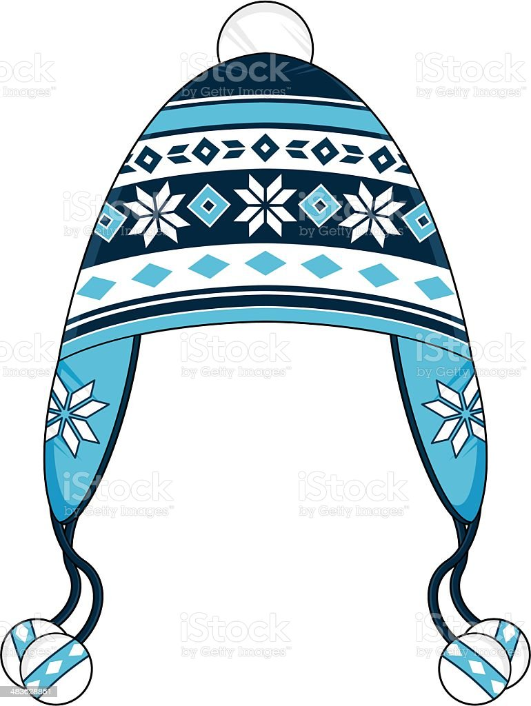Blue Striped Wooly Bobble Hat vector art illustration