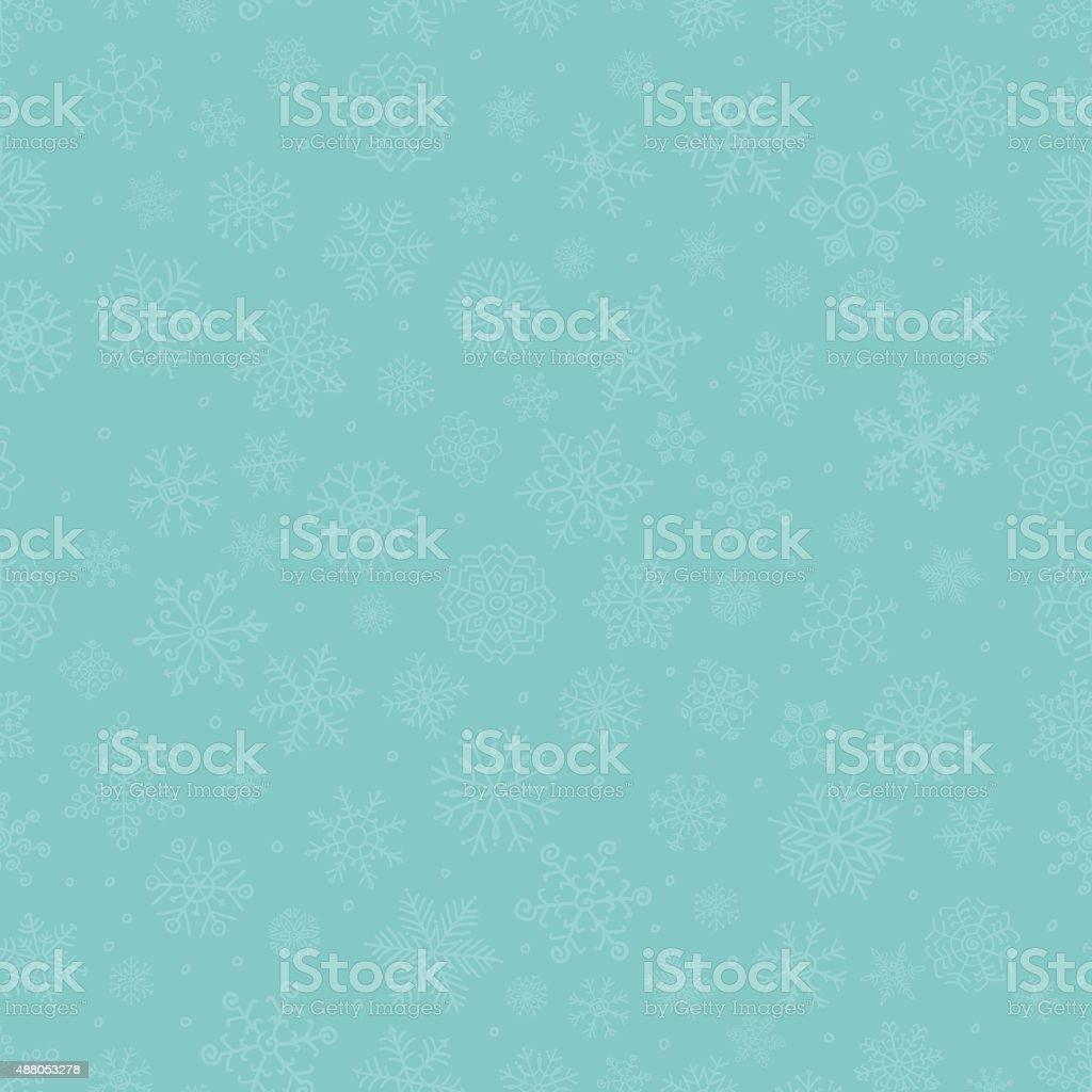 Blue Subtle Winter Snow Flakes Doodle Seamless Background vector art illustration