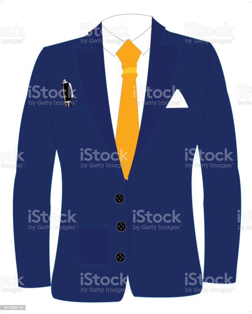 Blue suit and tie vector art illustration