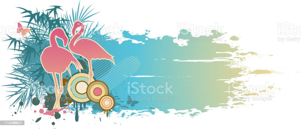 blue summer banner vector art illustration