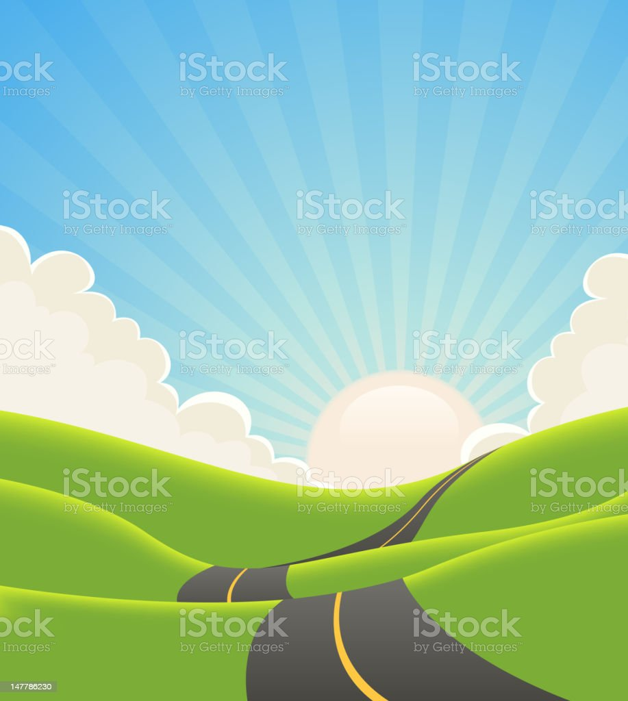 Blue Summer Landscape Road vector art illustration