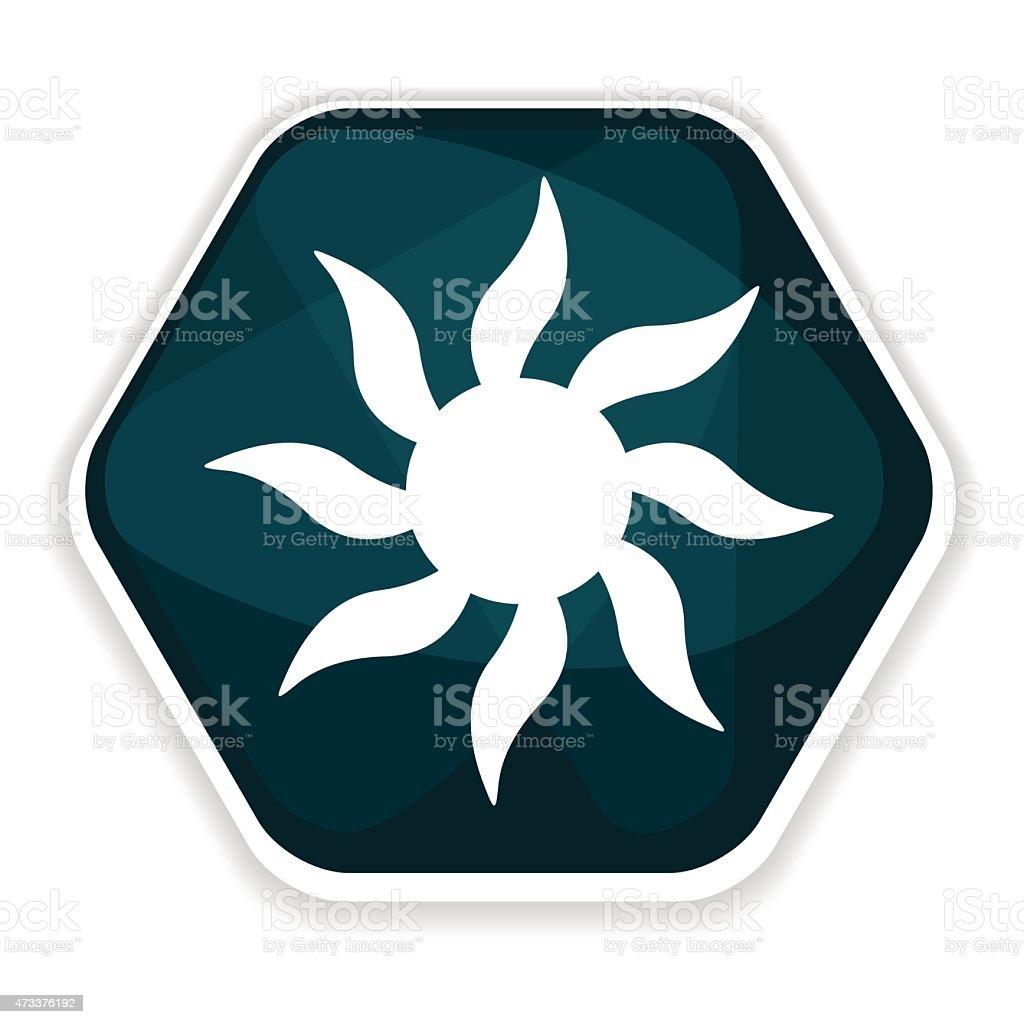 Blue sun rays vector icon, solar radiation