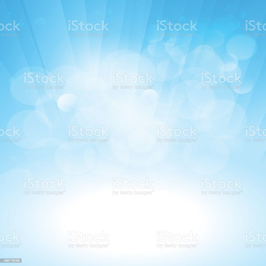 Blue sunrays horizon with bubbles sky background vector art illustration