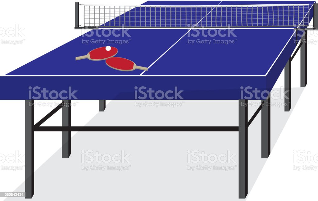Blue table for tennis and rackets. Equipment for ping-pong vector art illustration