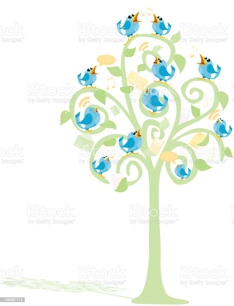Blue Talking Birds Internet Communication In a tree royalty-free stock vector art