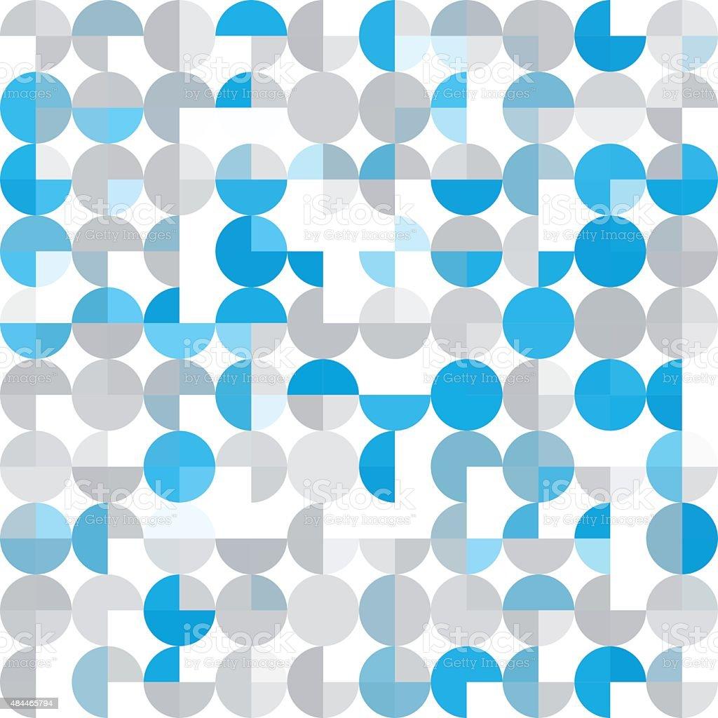 Blue Tec Geometric Circle Pie Pattern Square vector art illustration