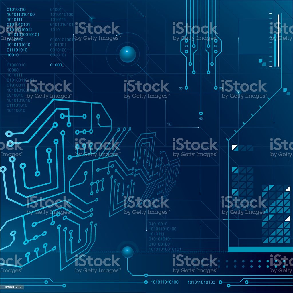 Blue technology background with circuitry and data storage theme vector art illustration