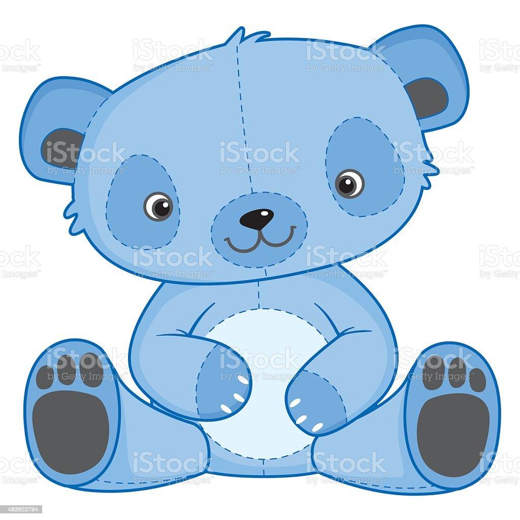 Blue Teddy Bear vector art illustration