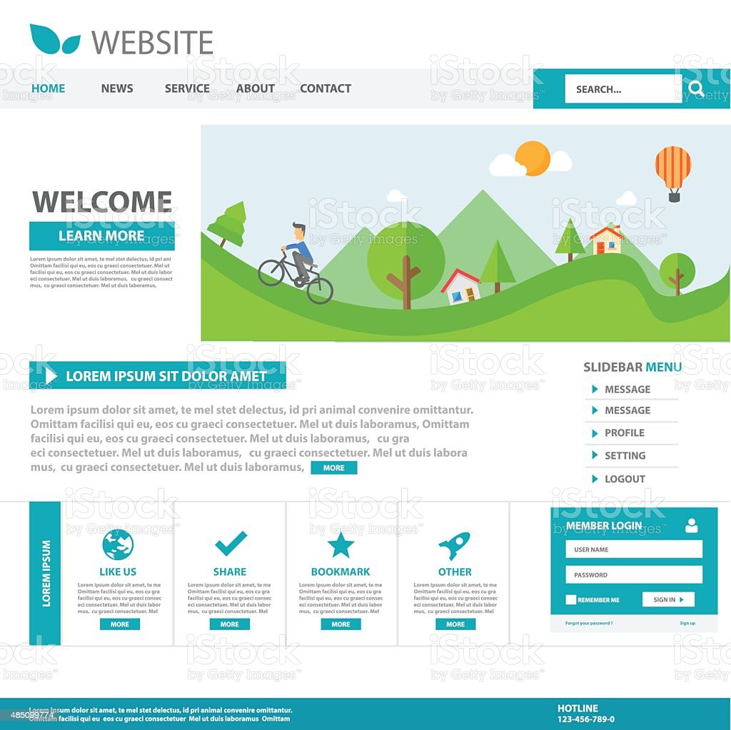Blue Template web flat design for website vector art illustration