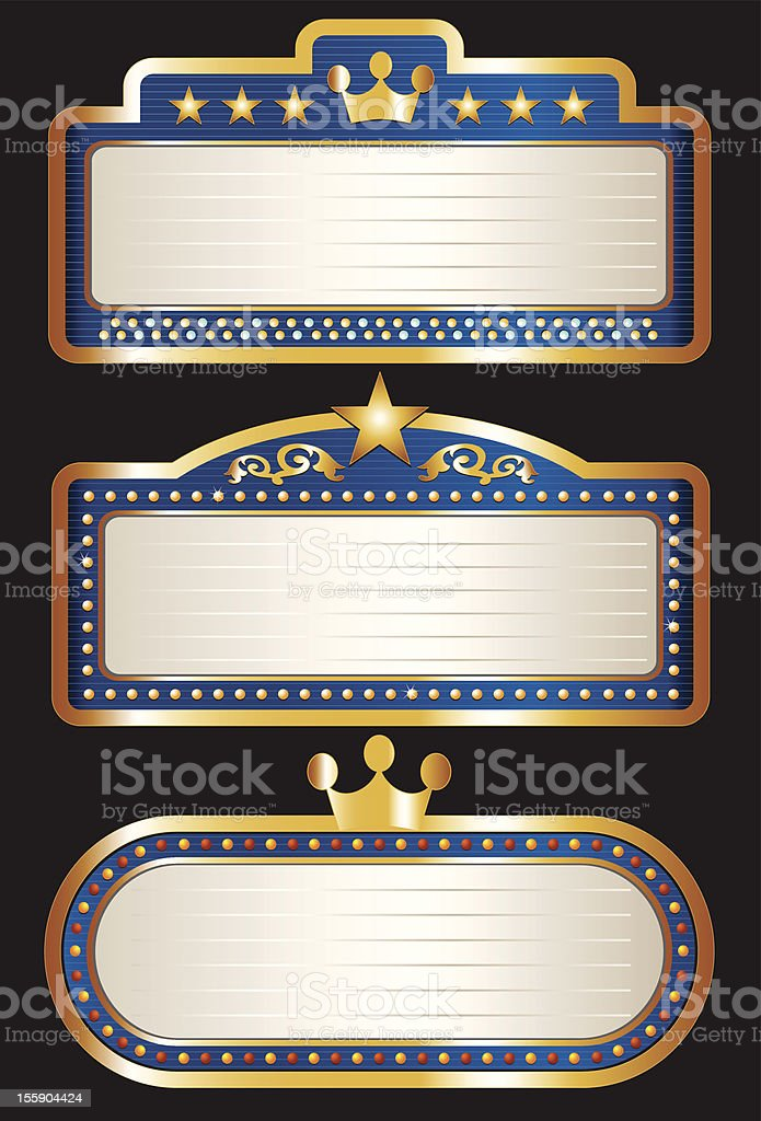 Blue Theater Marquee Collection royalty-free stock vector art