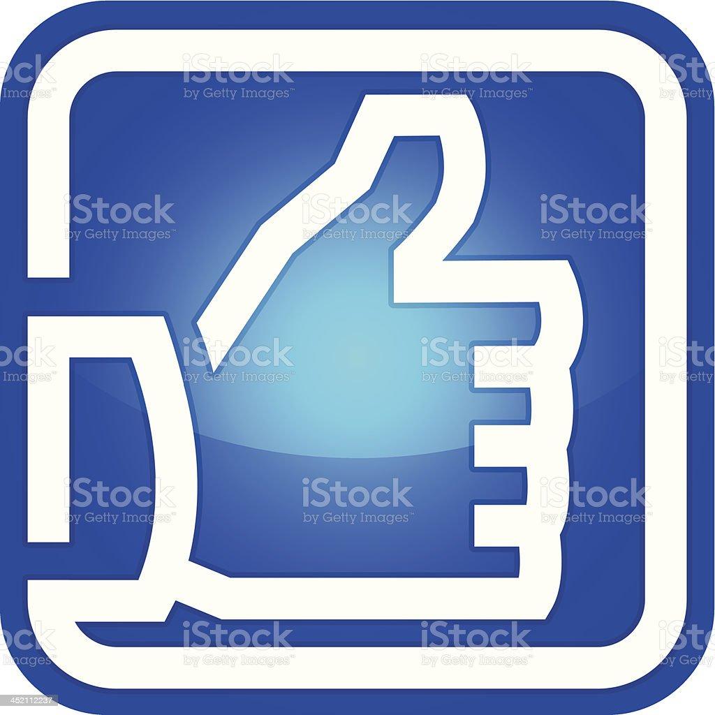 blue thumbs up icon vector art illustration