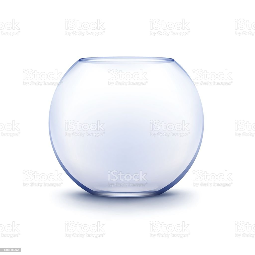 Blue Transparent Glass Smooth Empty Fishbowl Aquarium Isolated on Background vector art illustration