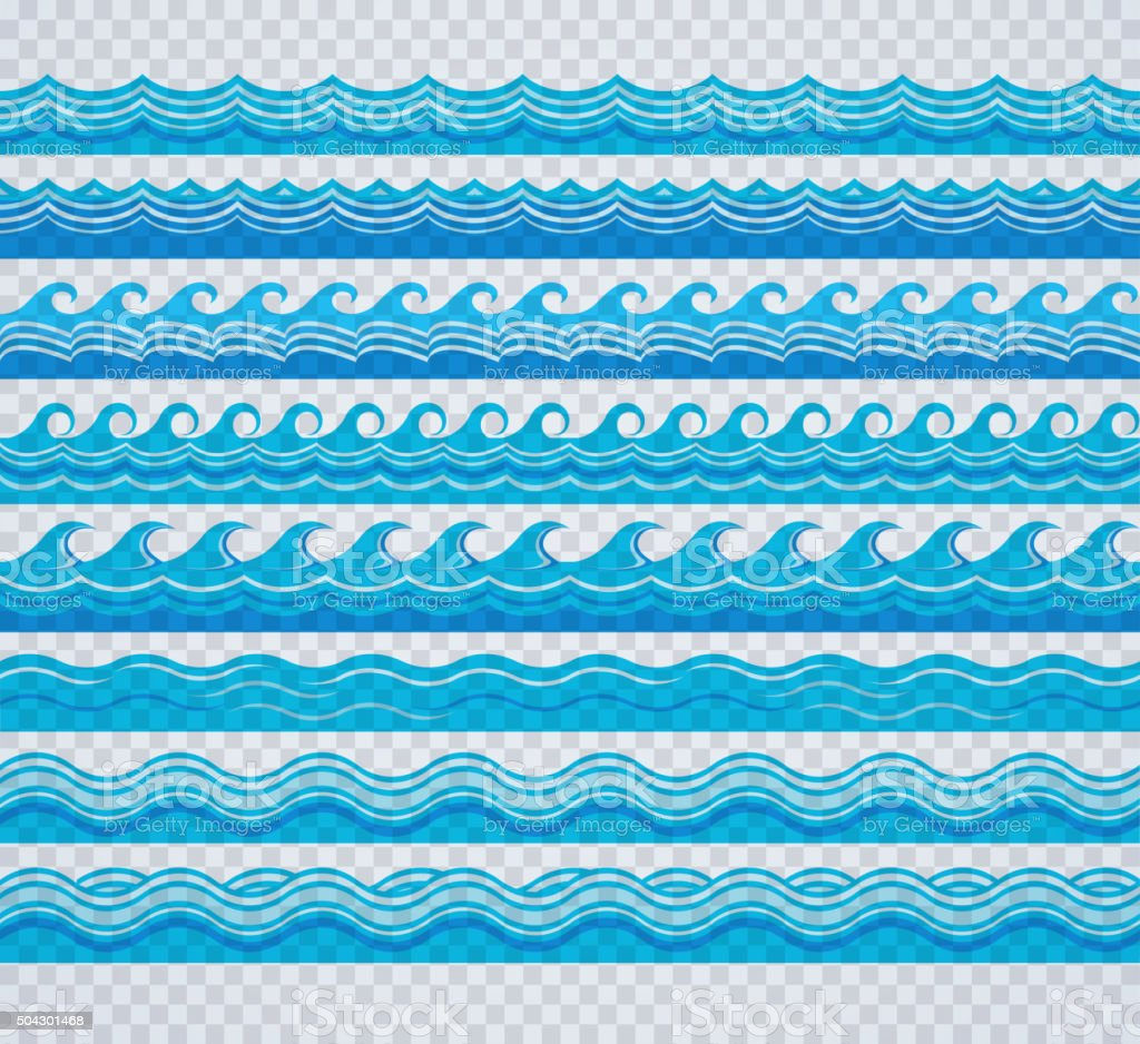 Blue transparent wave patterns vector art illustration