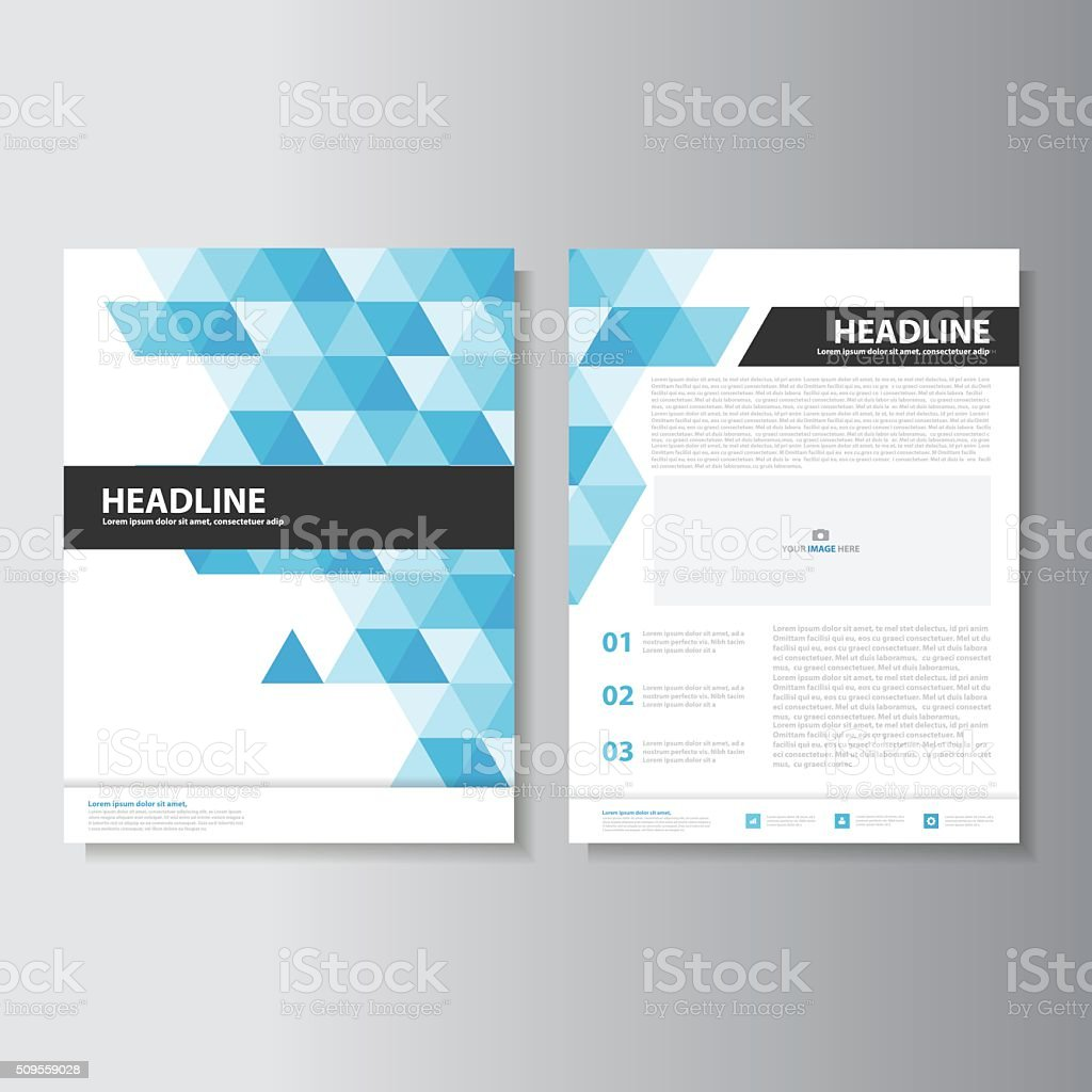 Blue Triangle brochure flyer leaflet templates layout flat design set vector art illustration