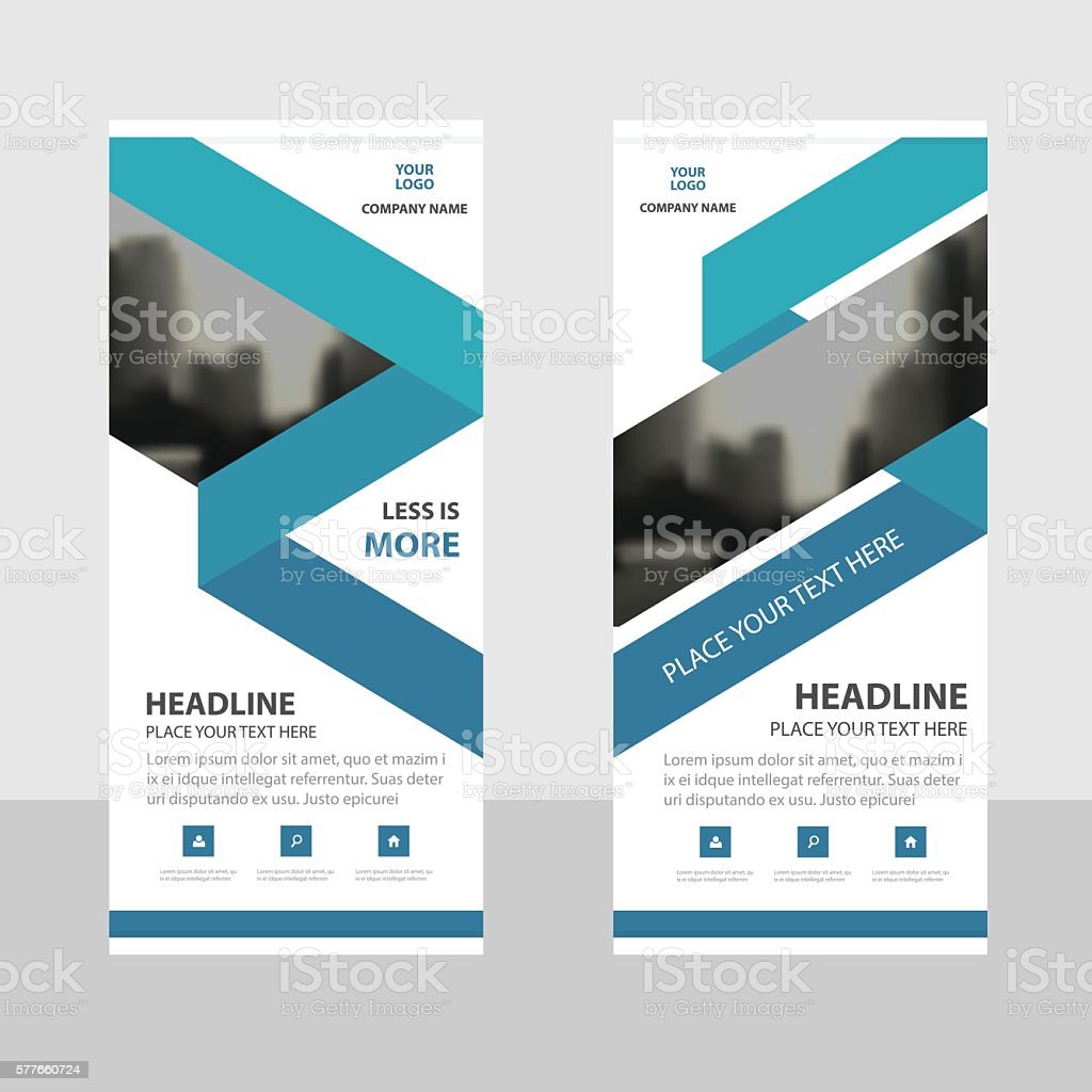 Design for roll up banner - Blue Triangle Business Roll Up Banner Flat Design Template Abstract Royalty Free Stock Vector Art