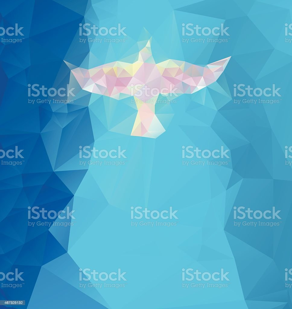 Blue triangle design with a dove vector art illustration