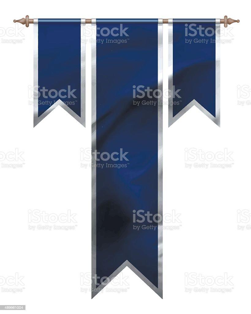 Blue triple flag vector art illustration