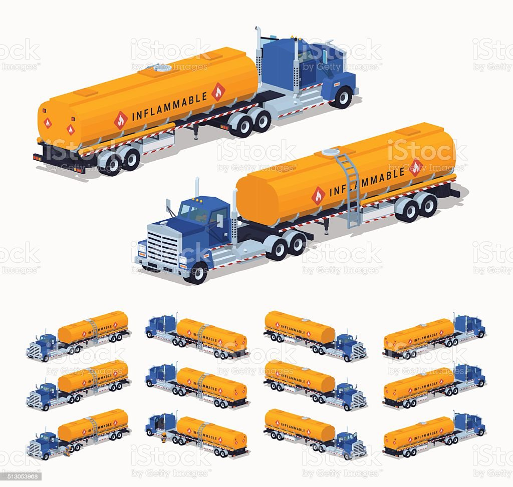 Blue truck with the orange fuel tank vector art illustration