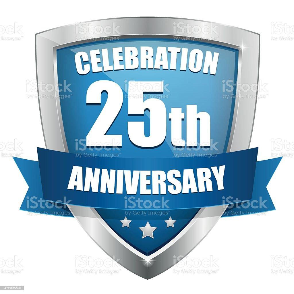 Blue twenty-five year anniversary button royalty-free stock vector art